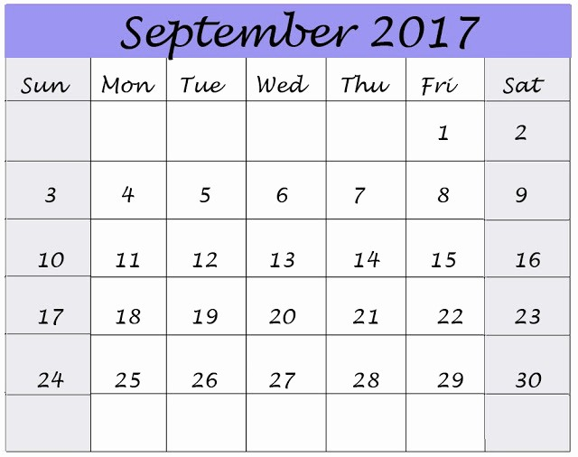September 2017 Printable Calendar Word Best Of September 2017 Printable Calendar Pdf Word Excel