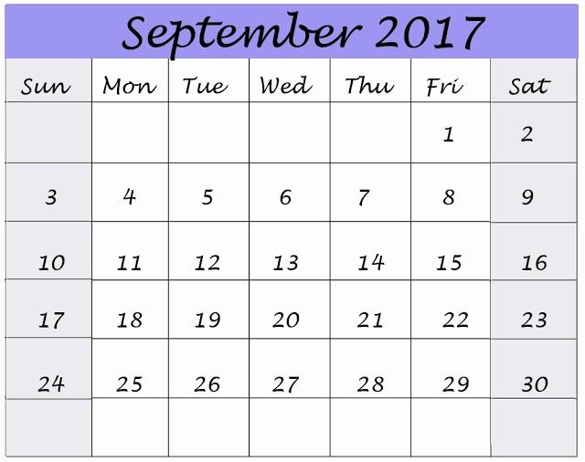 September 2017 Printable Calendar Word Best Of September 2017 Printable Calendar Pdf Word Excel