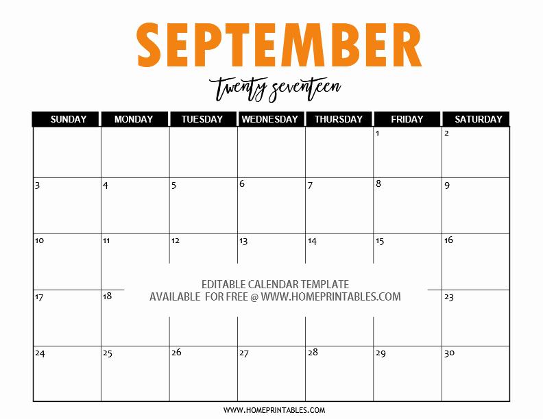 September 2017 Printable Calendar Word Elegant Free Editable 2017 Calendar In Word Pretty Template