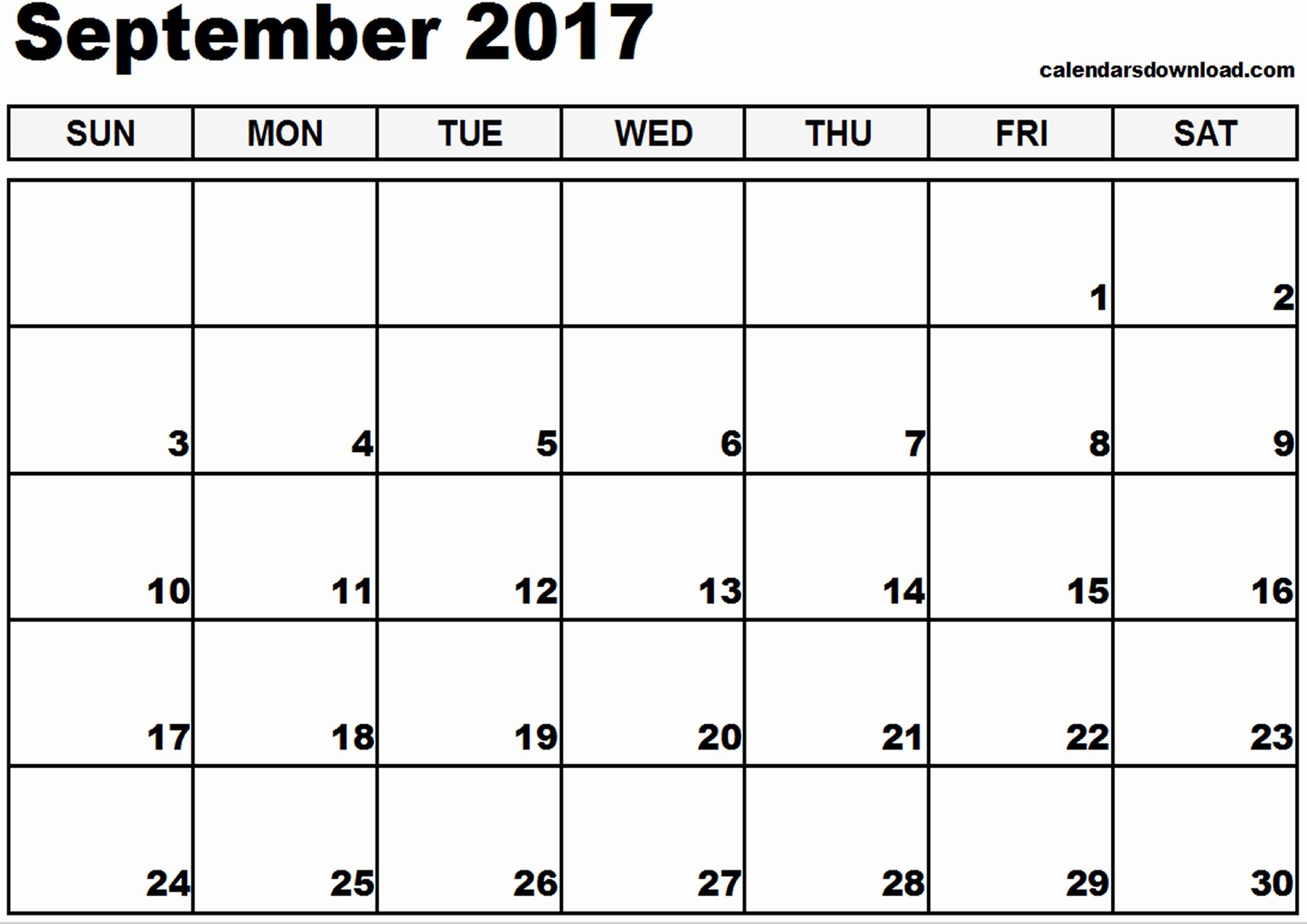 September 2017 Printable Calendar Word Elegant September 2017 Calendar