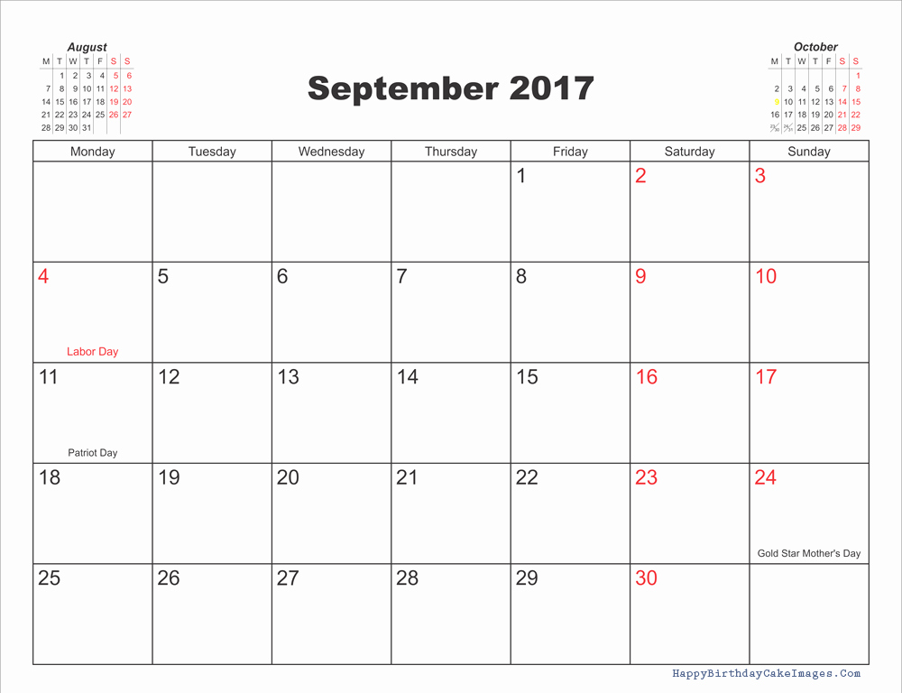 September 2017 Printable Calendar Word Elegant September 2017 Calendar with Holidays Calendar Template 2018