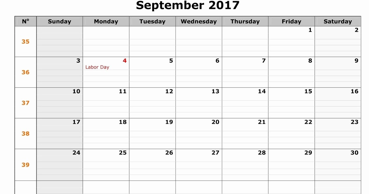 September 2017 Printable Calendar Word Elegant September 2017 Printable Calendar Pdf Word Excel