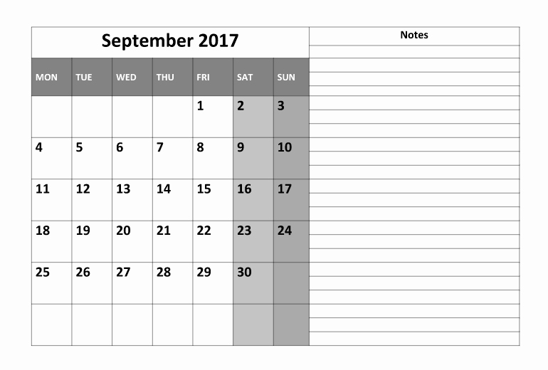 September 2017 Printable Calendar Word Elegant September 2017 Printable Calendar Template Holidays