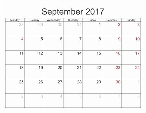 September 2017 Printable Calendar Word Fresh September 2017 Printable Calendar Template Holidays