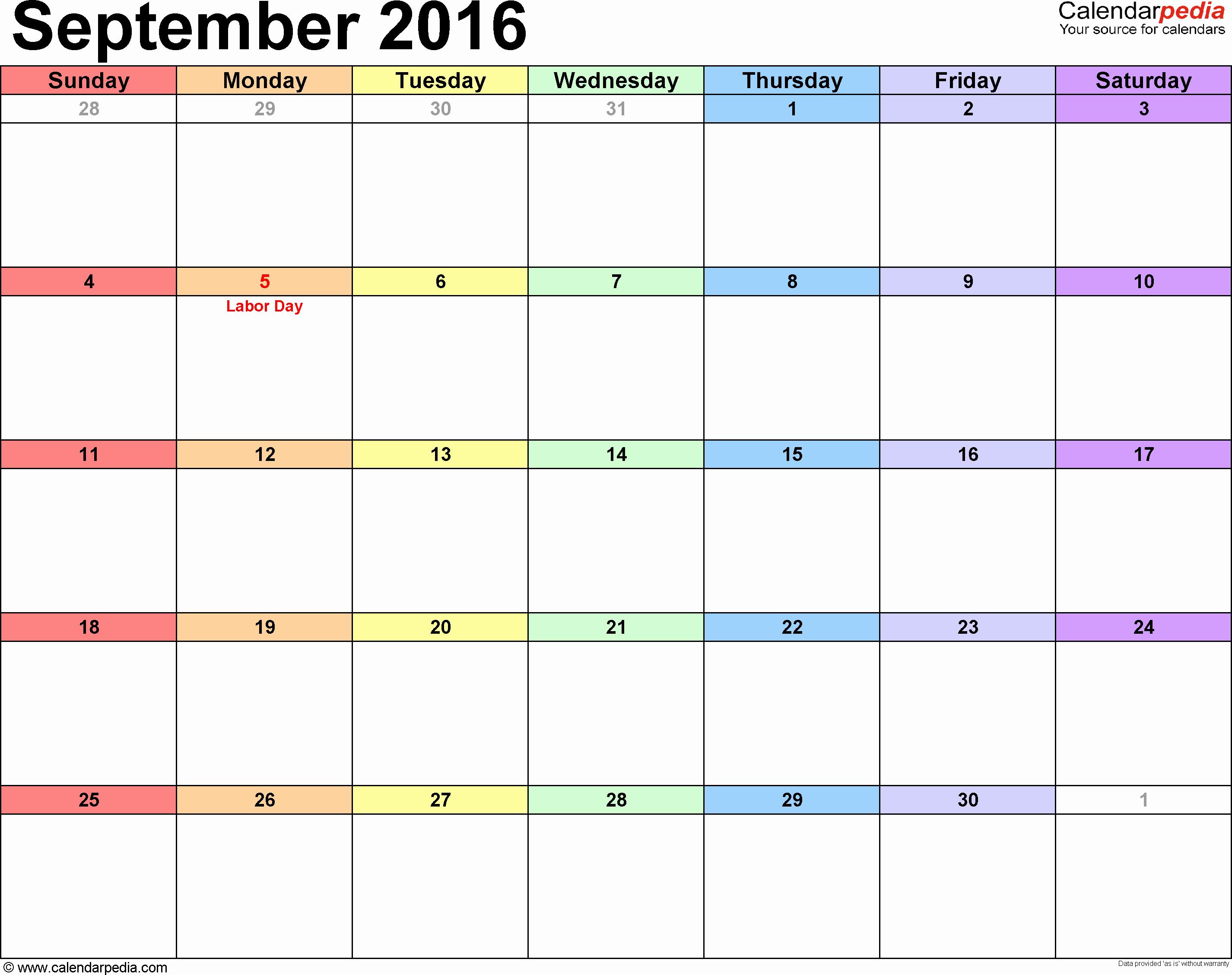 September 2017 Printable Calendar Word Inspirational September 2016 Calendars for Word Excel & Pdf