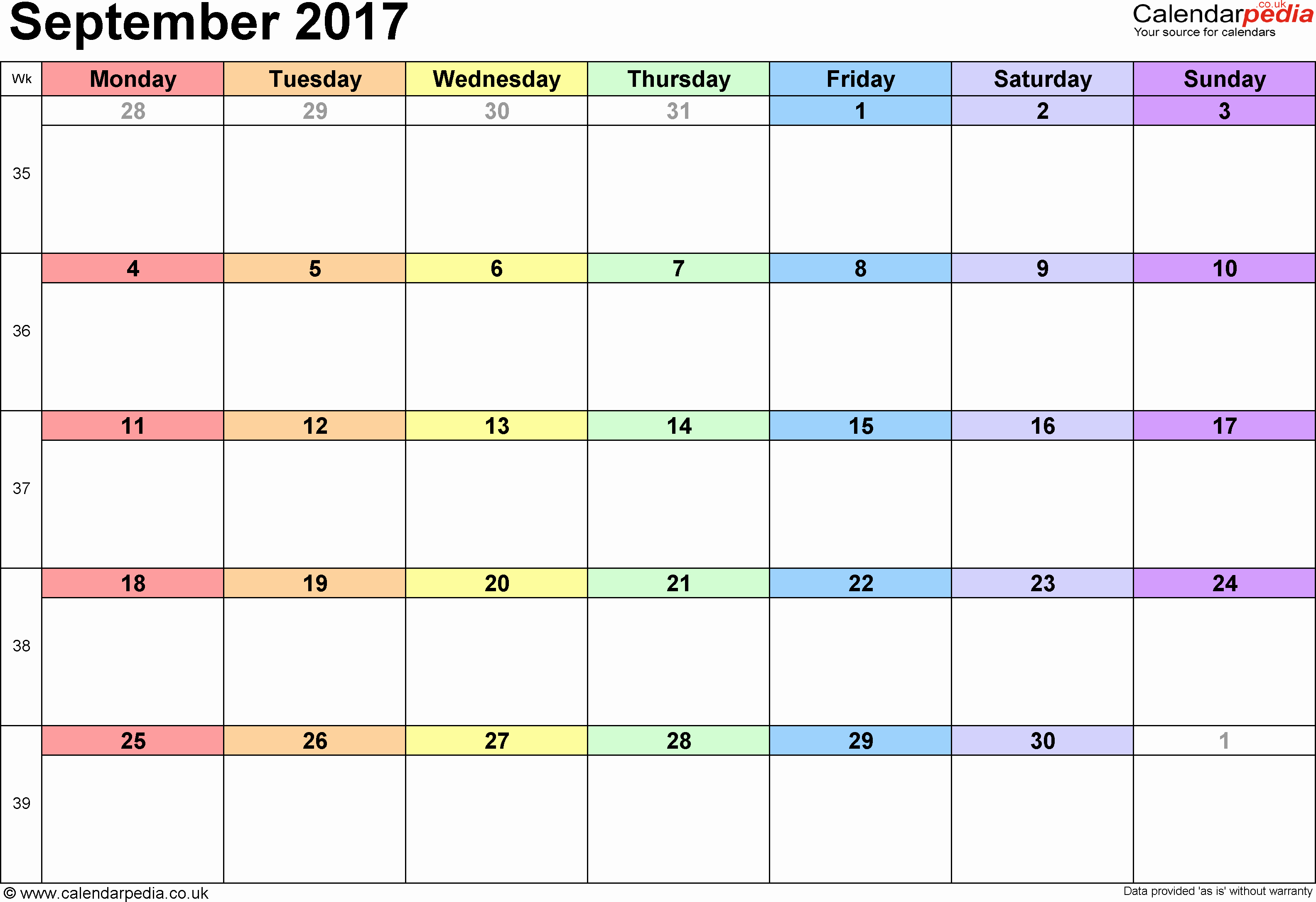 September 2017 Printable Calendar Word Inspirational September 2017 Calendar Excel