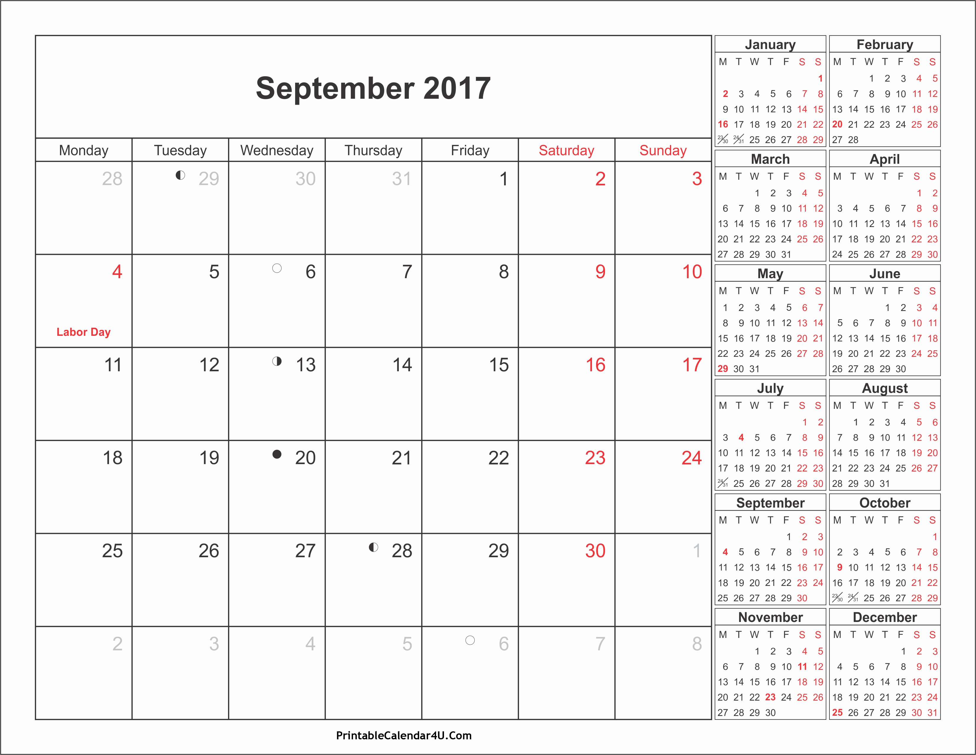 September 2017 Printable Calendar Word Lovely September 2017 Calendar Pdf