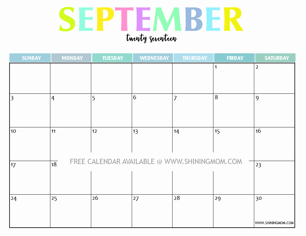 September 2017 Printable Calendar Word Luxury September 2017 Printable Calendar