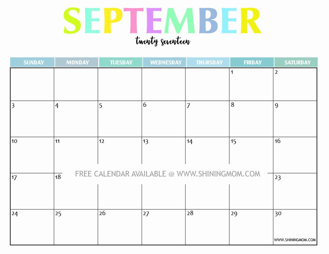 September 2017 Printable Calendar Word Luxury September 2017 Printable Calendar