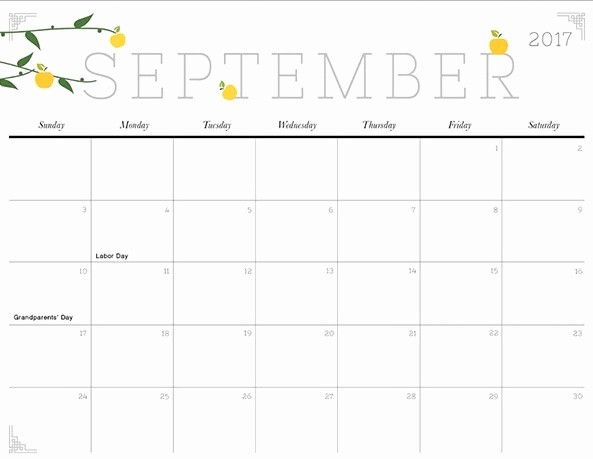 September 2017 Printable Calendar Word Luxury September 2017 Printable Calendar Template Holidays