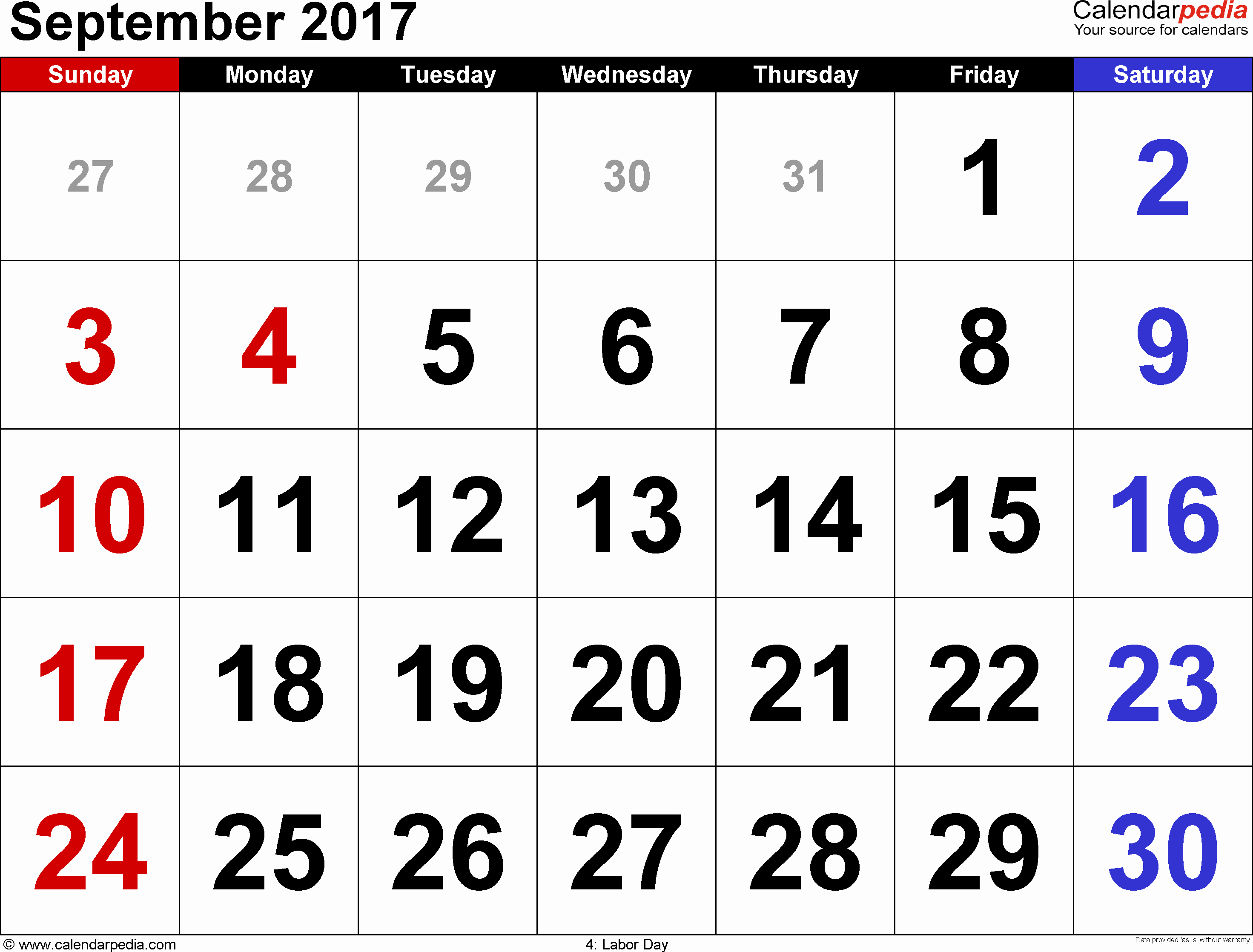 September 2017 Printable Calendar Word New September 2017 Calendar Excel