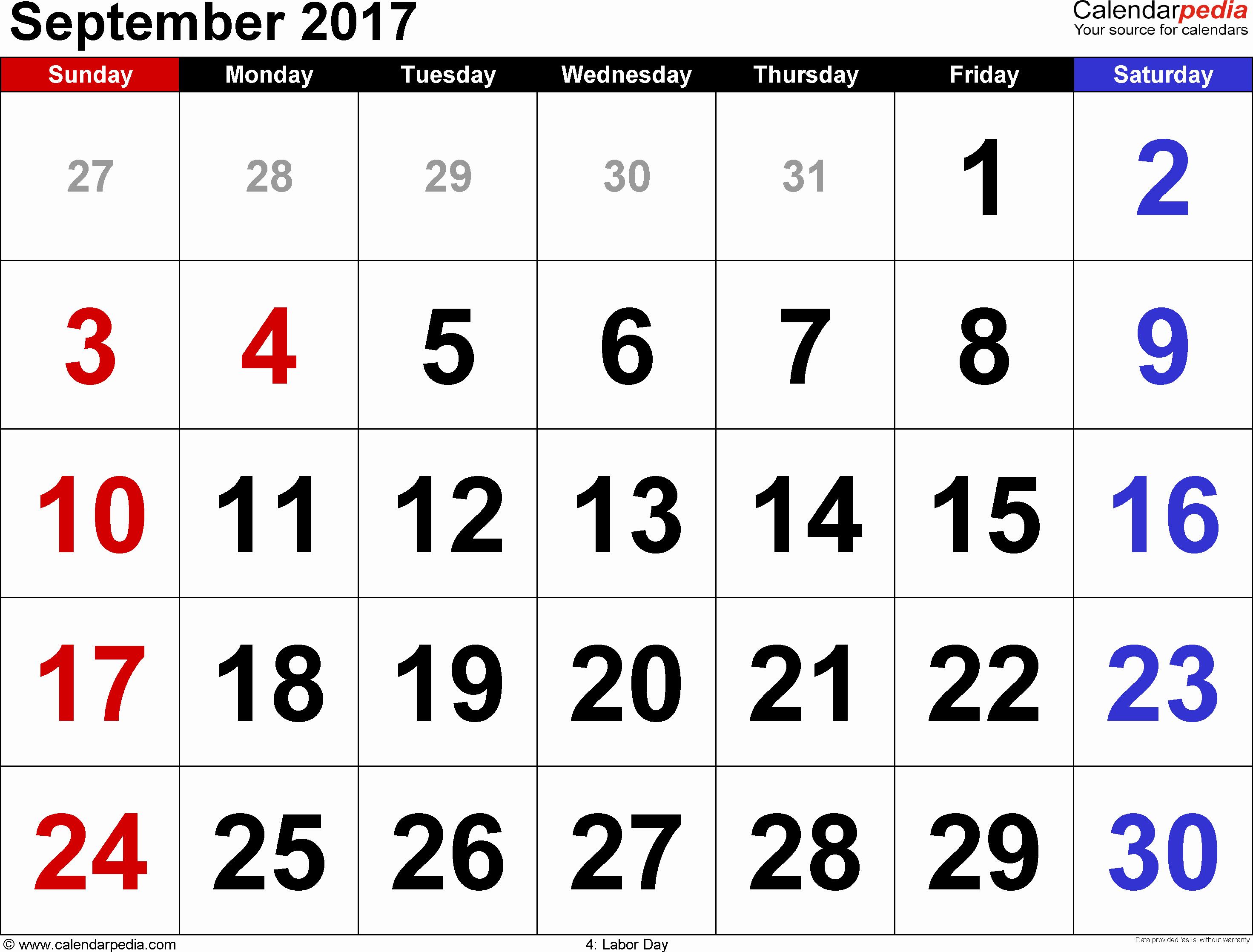 September 2017 Printable Calendar Word New September 2017 Calendar Excel