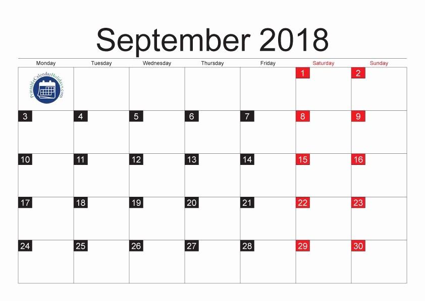 September 2017 Printable Calendar Word New September 2018 Calendar Word