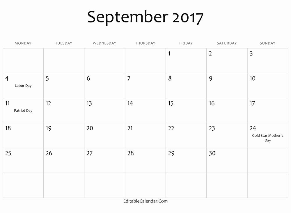 September 2017 Printable Calendar Word Unique 2017 September Calendar In Word Printable Monthly