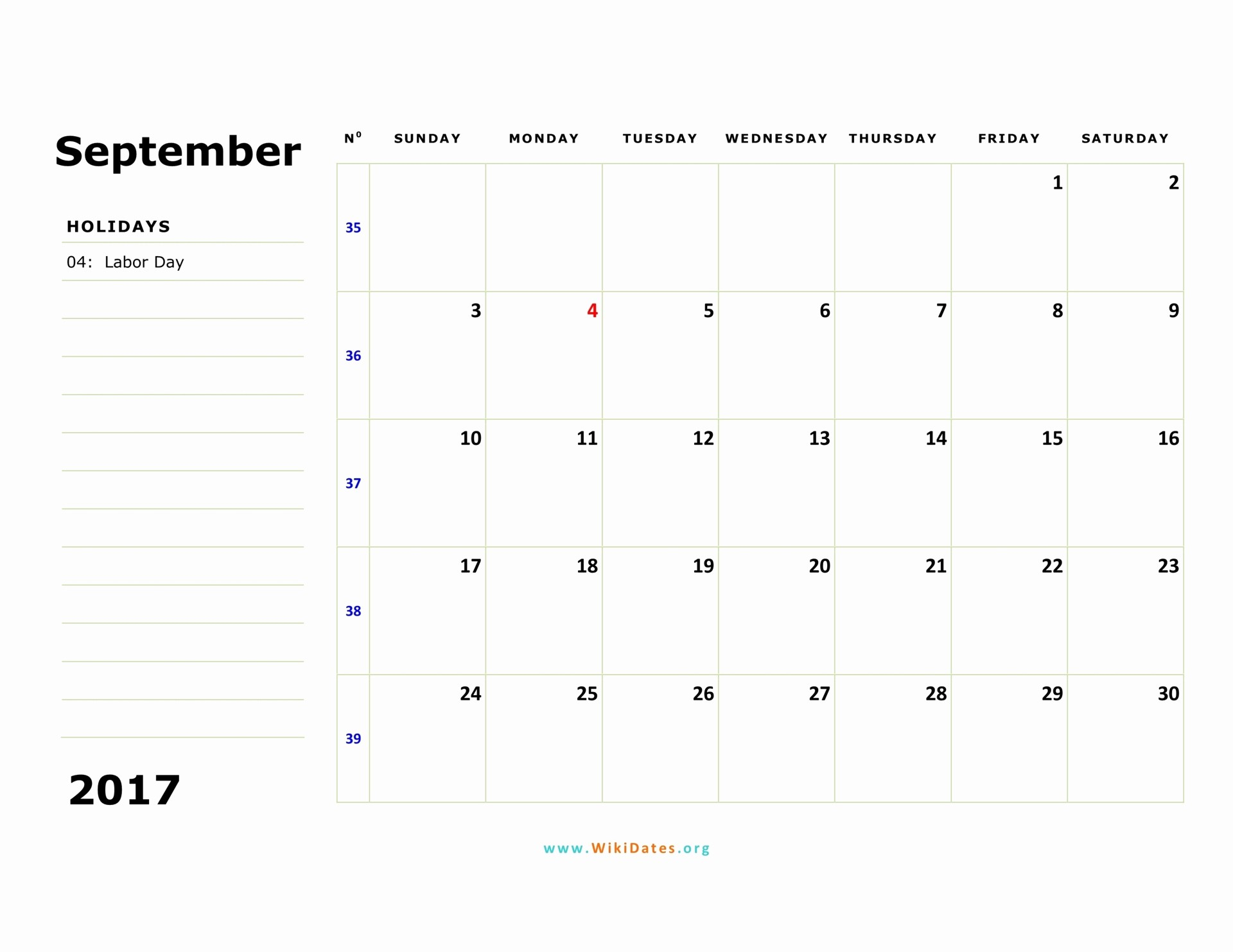 September 2017 Printable Calendar Word Unique September 2017 Calendar
