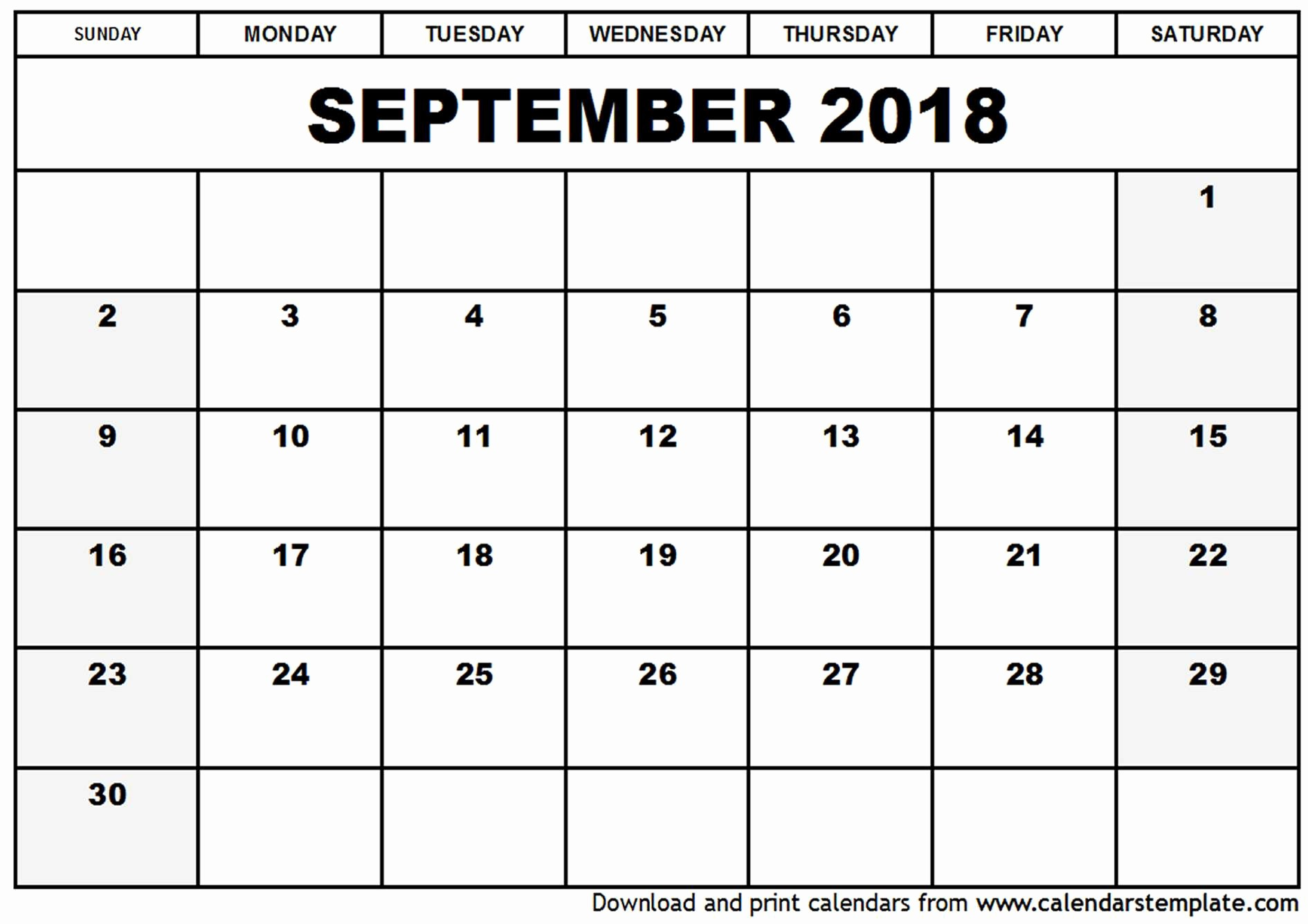 September 2017 Printable Calendar Word Unique September 2018 Calendar Word