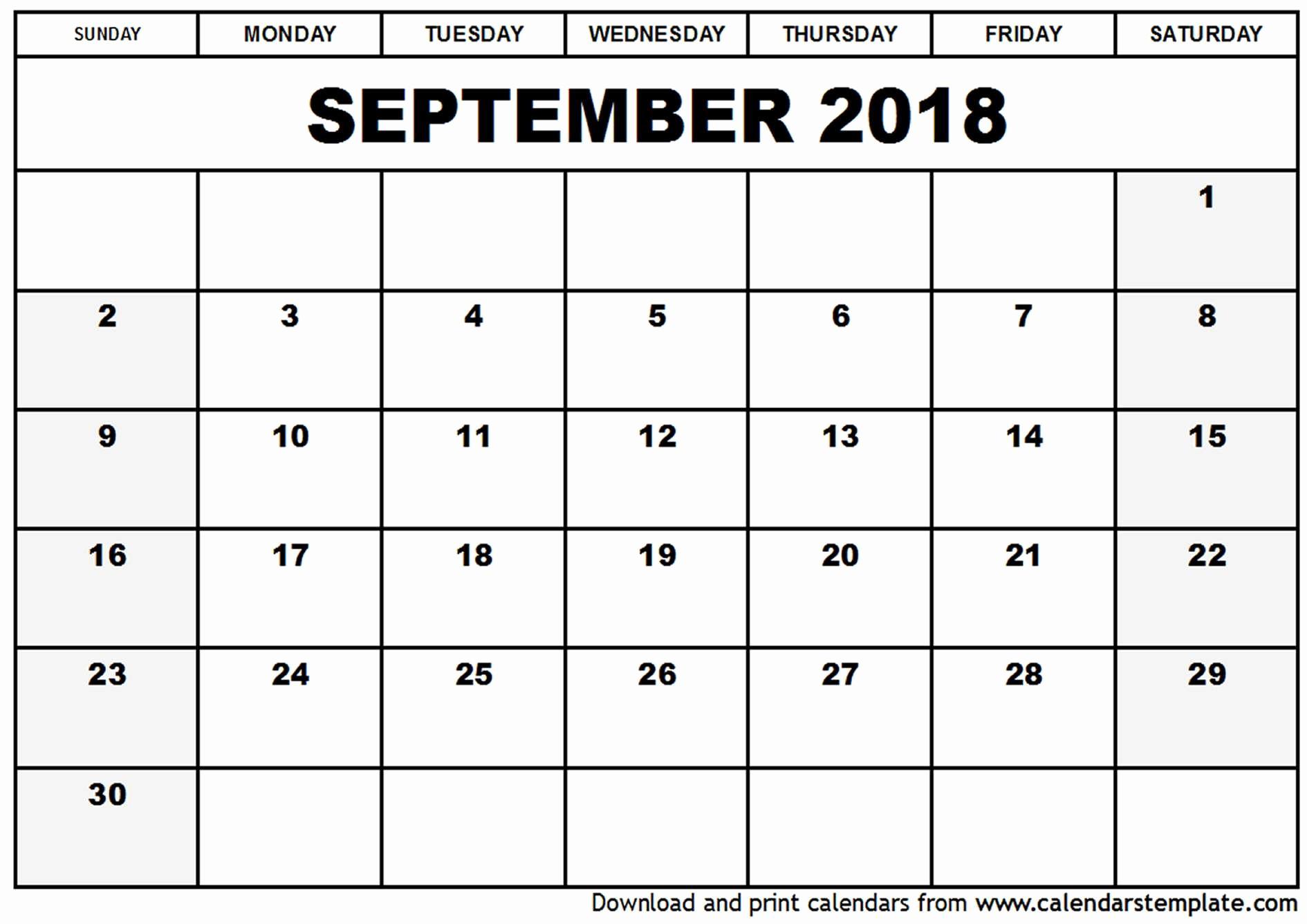 September 2017 Printable Calendar Word Unique September 2018 Calendar Word