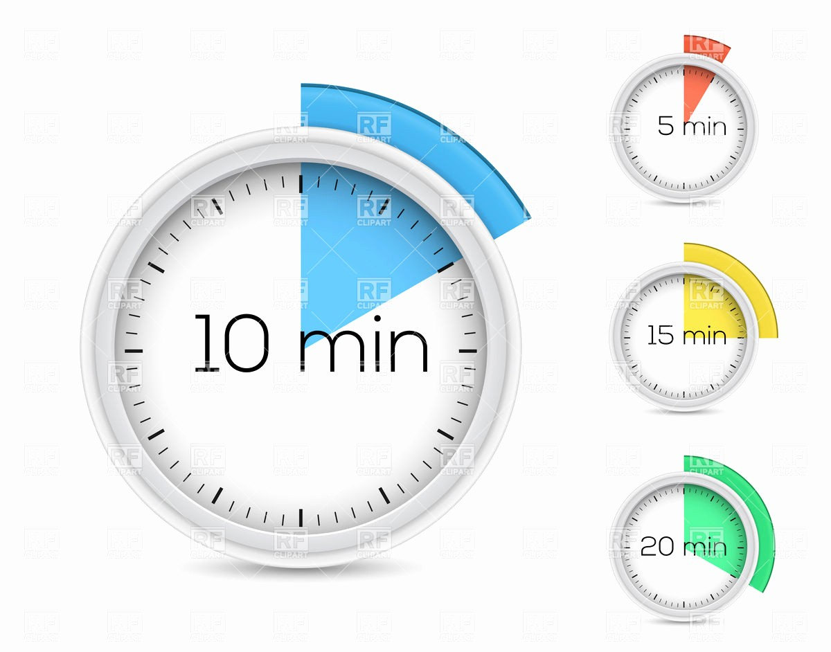 Set A 15 Min Timer Awesome Set Of Timers for 5 10 15 and 20 Minutes Vector