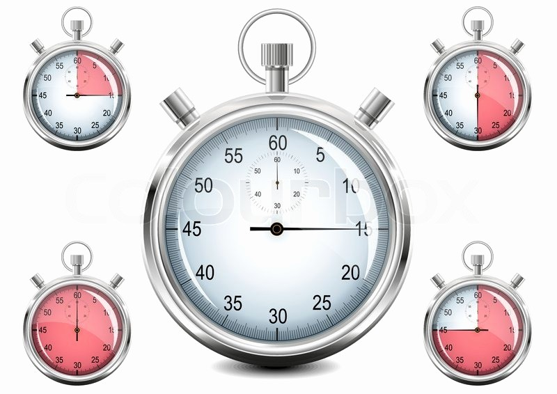 Set Stopwatch for 5 Minutes Awesome Set Of Chrome Analog Stopwatch Vector Illustration Eps8