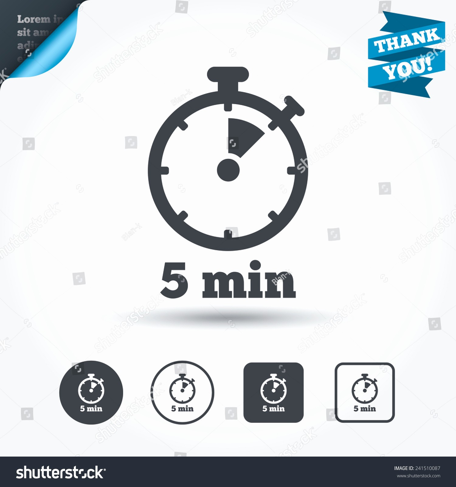 Set Stopwatch for 5 Minutes Awesome Timer Sign Icon 5 Minutes Stopwatch Symbol Circle and