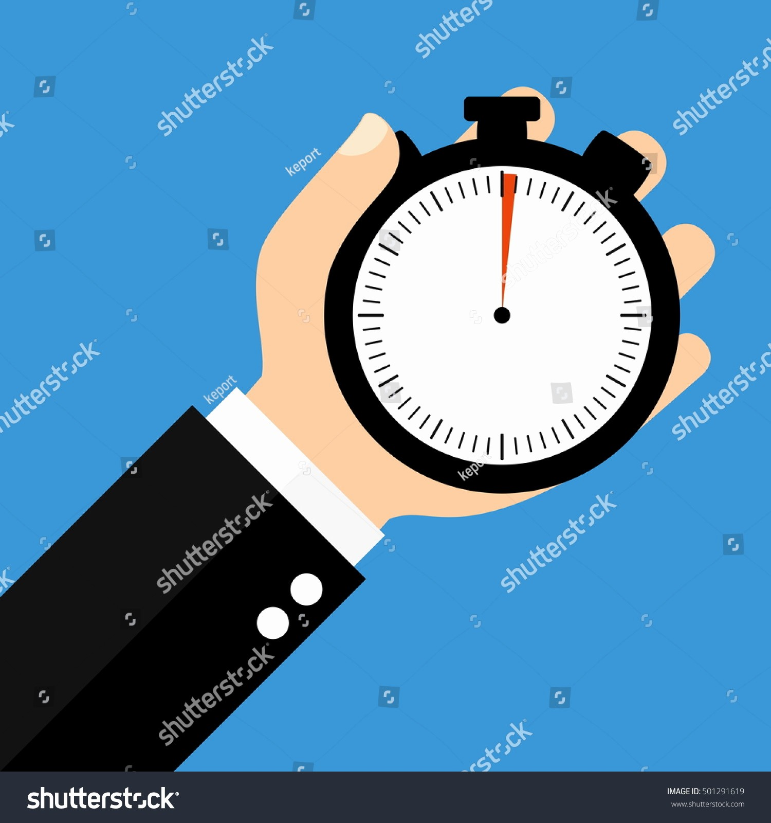 Set Stopwatch for 5 Minutes Elegant Hand Holding Stopwatch Showing 1 Second Stock Illustration