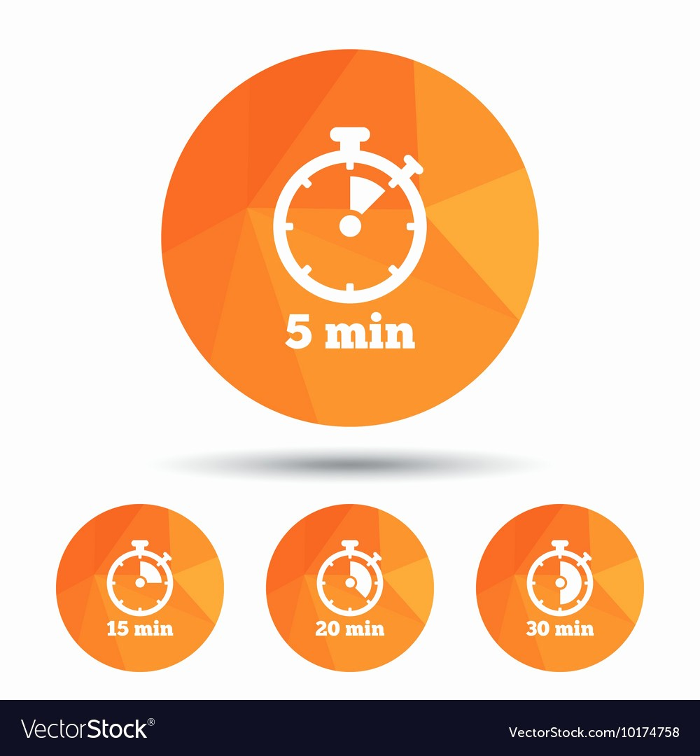 Set Stopwatch for 5 Minutes Fresh Timer Icons Five Minutes Stopwatch Symbol Vector by