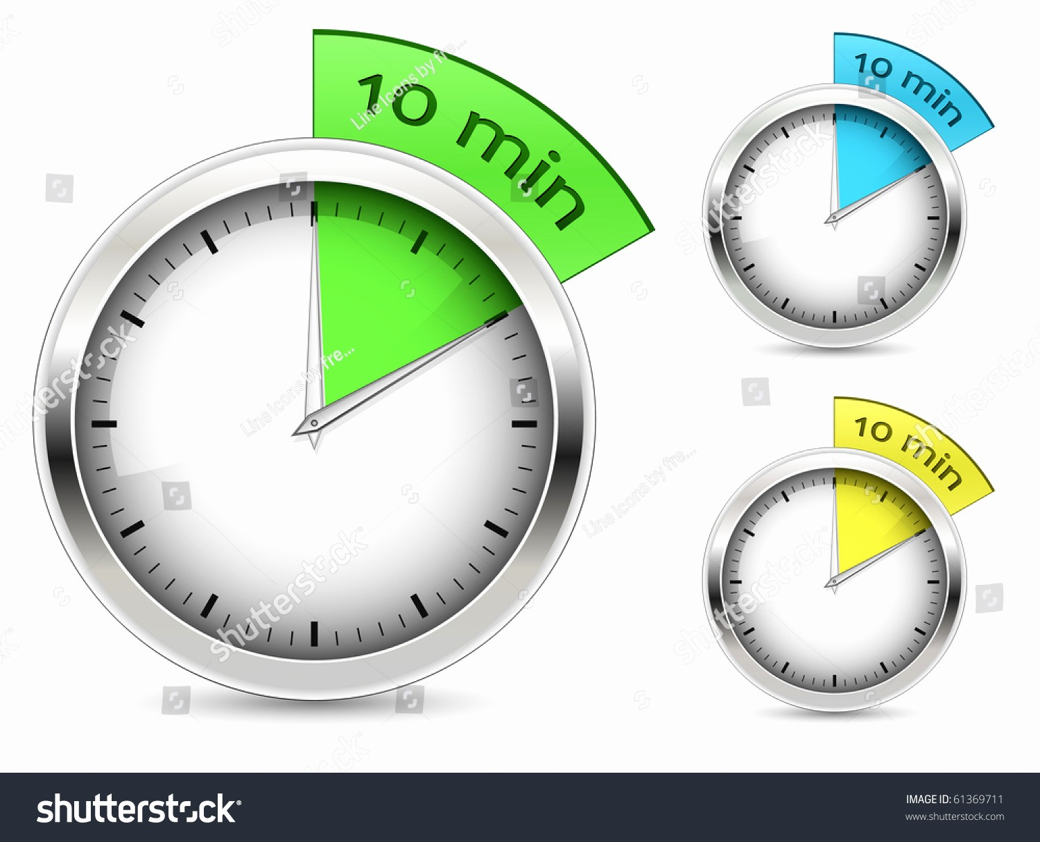 Set Stopwatch for 5 Minutes Luxury Set 10 Minutes Timer Vector Illustration