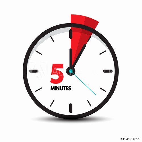 Set Timer for 5 Mins Beautiful Five Minutes Clock Icon isolated On White Background 5