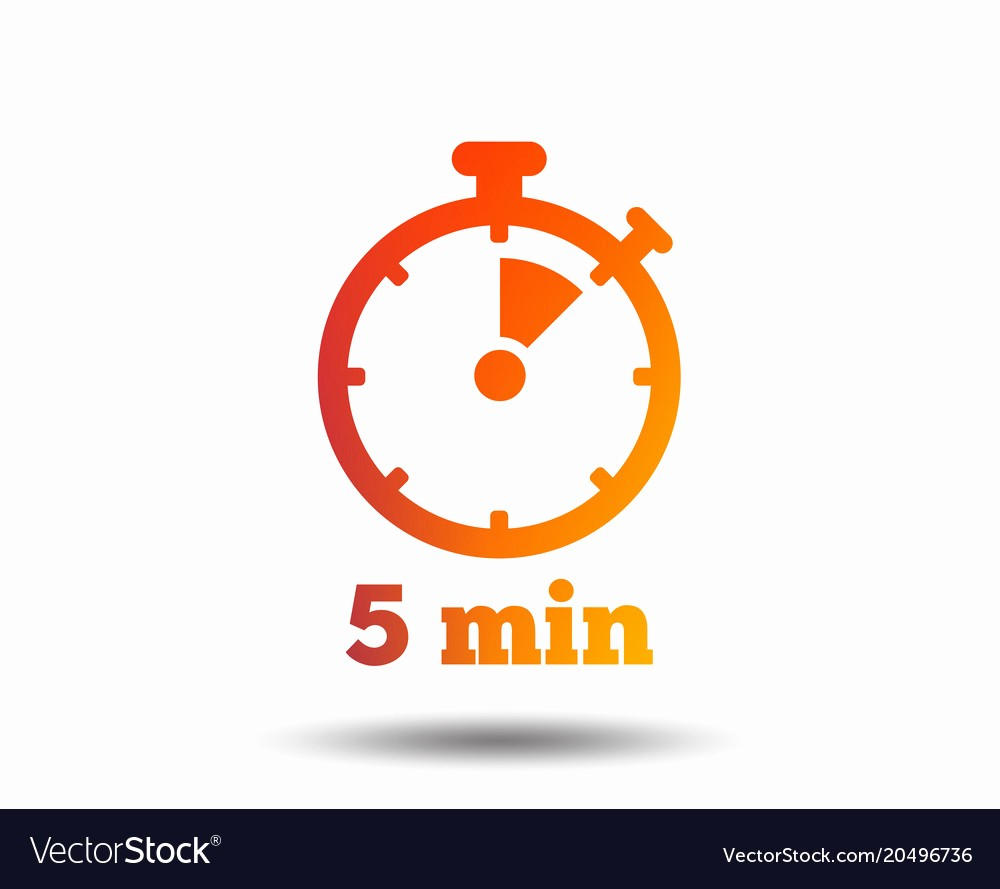 Set Timer for 5 Mins Fresh Timer Sign Icon 5 Minutes Stopwatch Symbol Vector Image