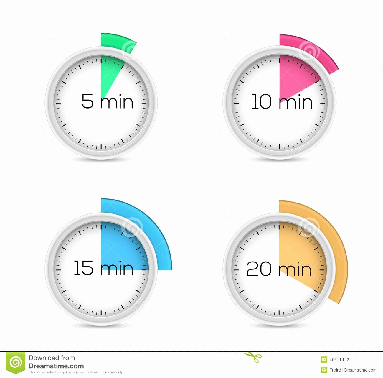 Set Timer for 5 Mins Unique Timers Collection Stock Vector Image