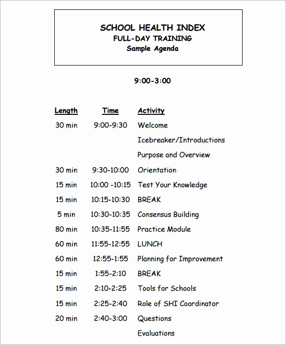 Setting Up A Meeting Agenda Lovely 8 Training Agenda Samples Examples Templates
