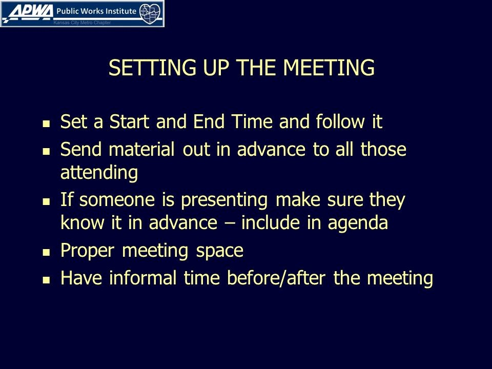 Setting Up A Meeting Agenda Luxury Conducting Effective Meetings Ppt Video Online