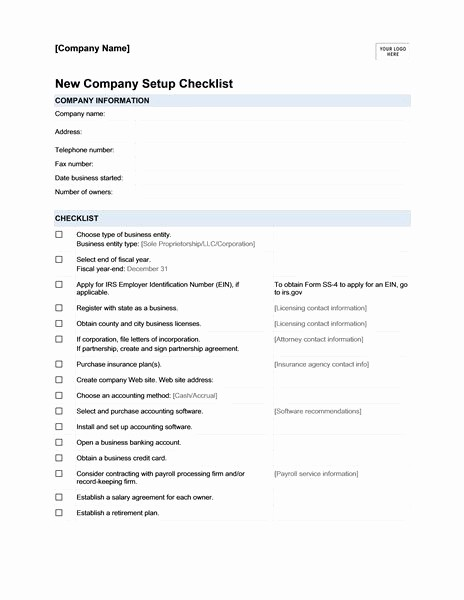 Setting Up An Office Checklist Best Of New Pany Setup Checklist Templates
