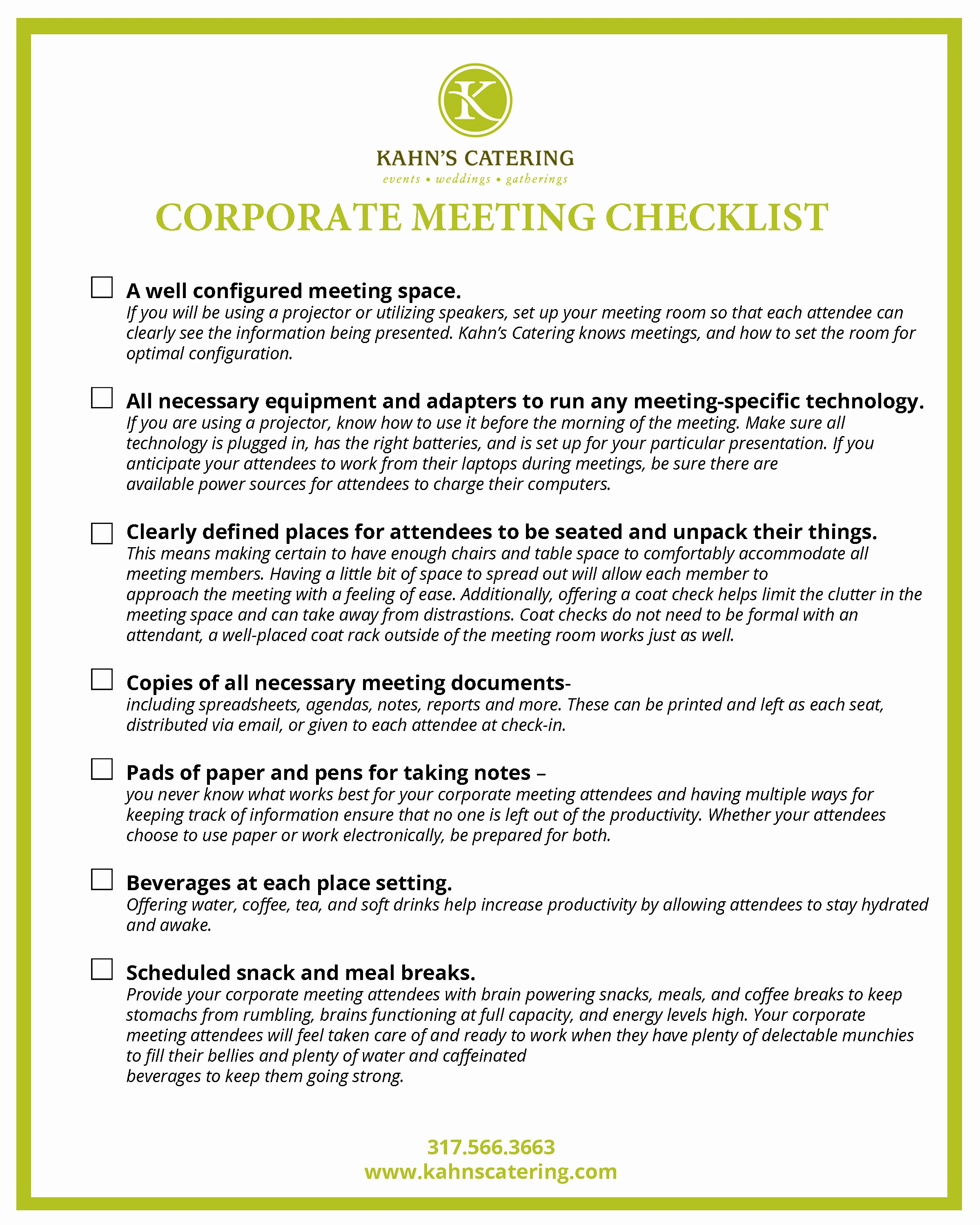 Setting Up An Office Checklist Fresh the Corporate Meeting Checklist Kahn S Catering