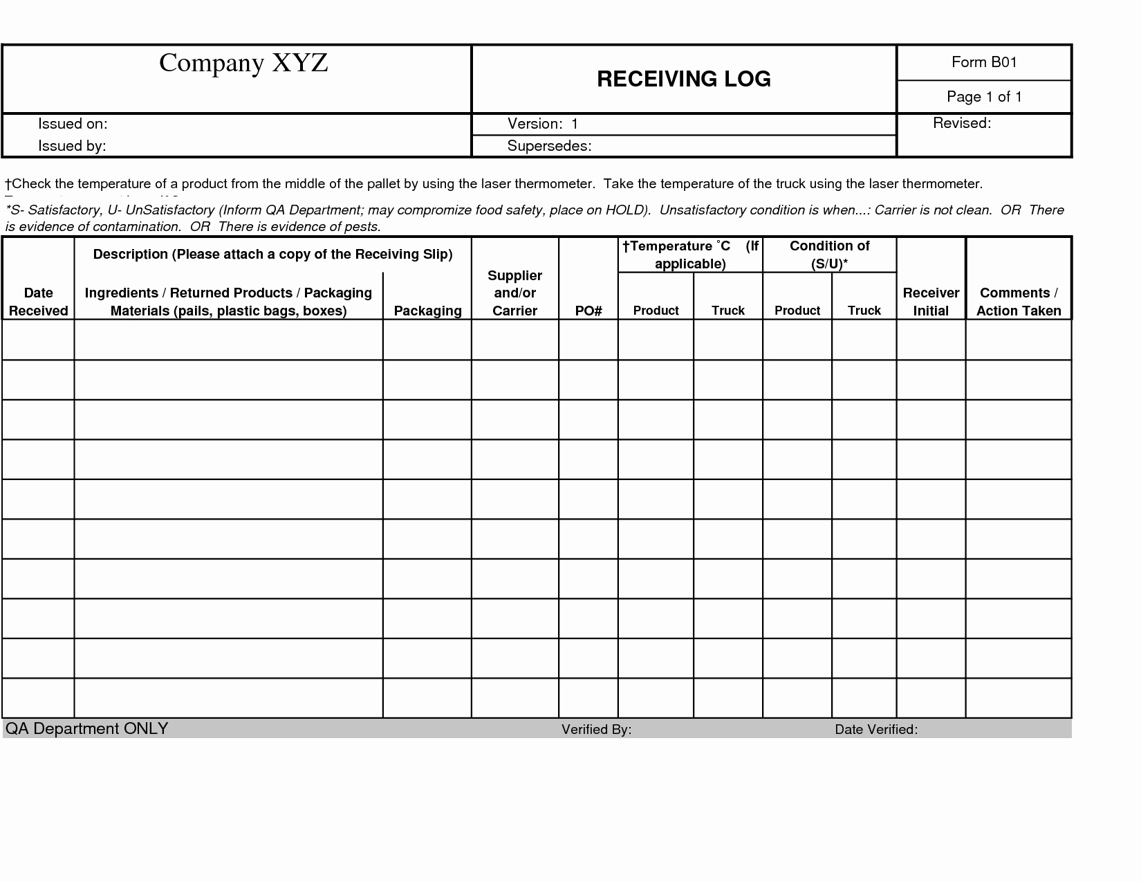Shipping and Receiving Excel Spreadsheet Awesome Business Shipping and Receiving Log form Template Sample