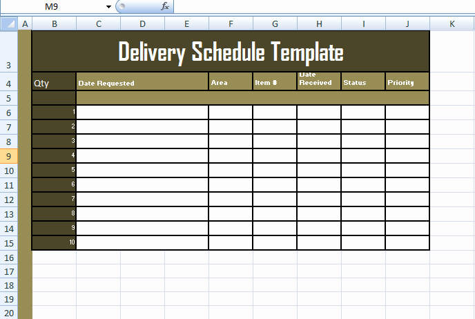 Shipping and Receiving Excel Spreadsheet Luxury format Delivery Schedule Template In Excel