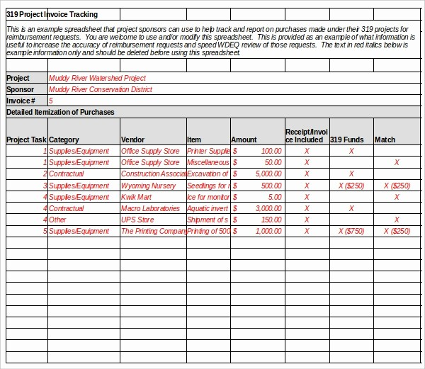 Shipping and Receiving Excel Spreadsheet New 8 Invoice Tracking Templates – Free Sample Example