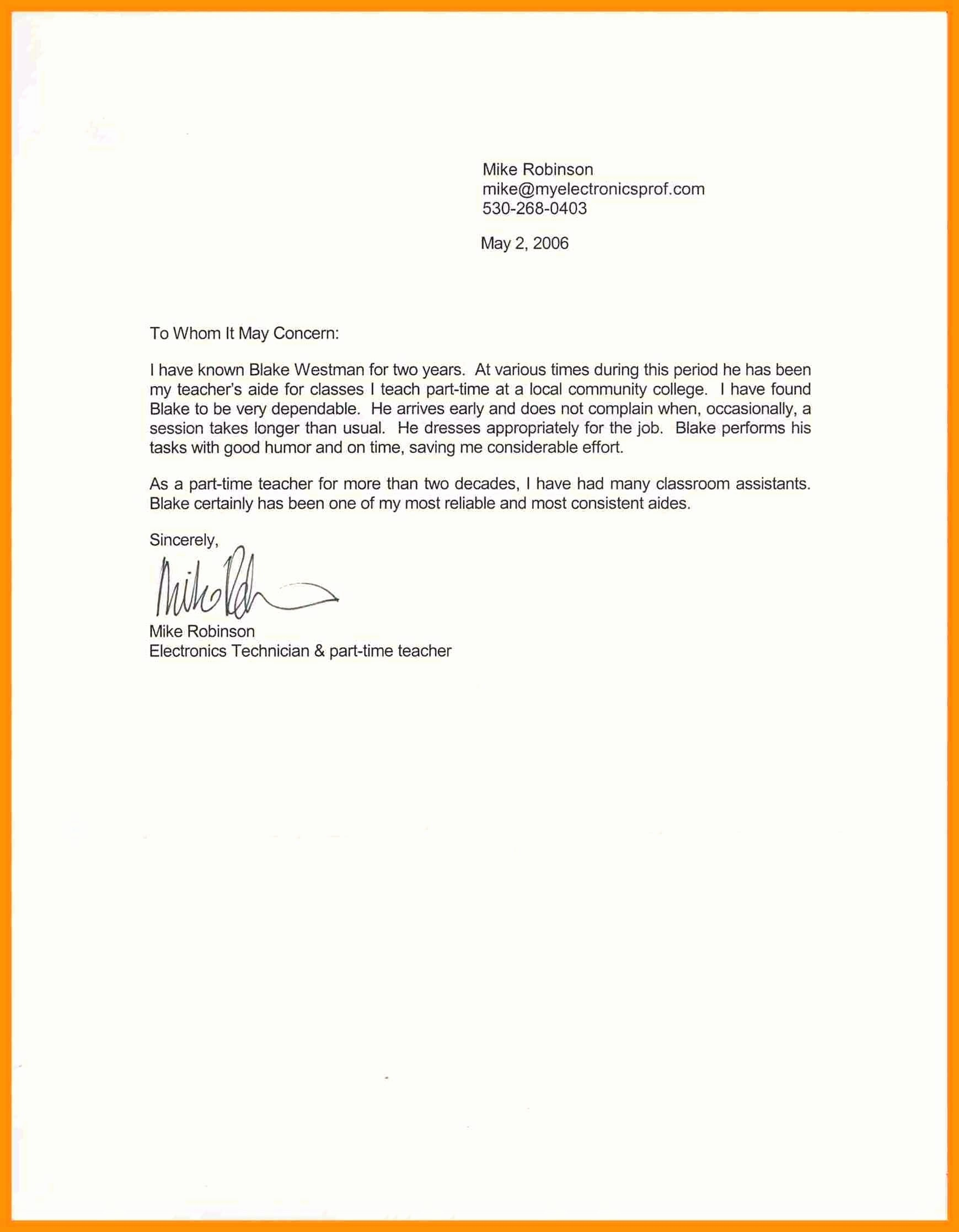 Short Recommendation Letter for Employee Elegant Template Short Letter Re Mendation Template