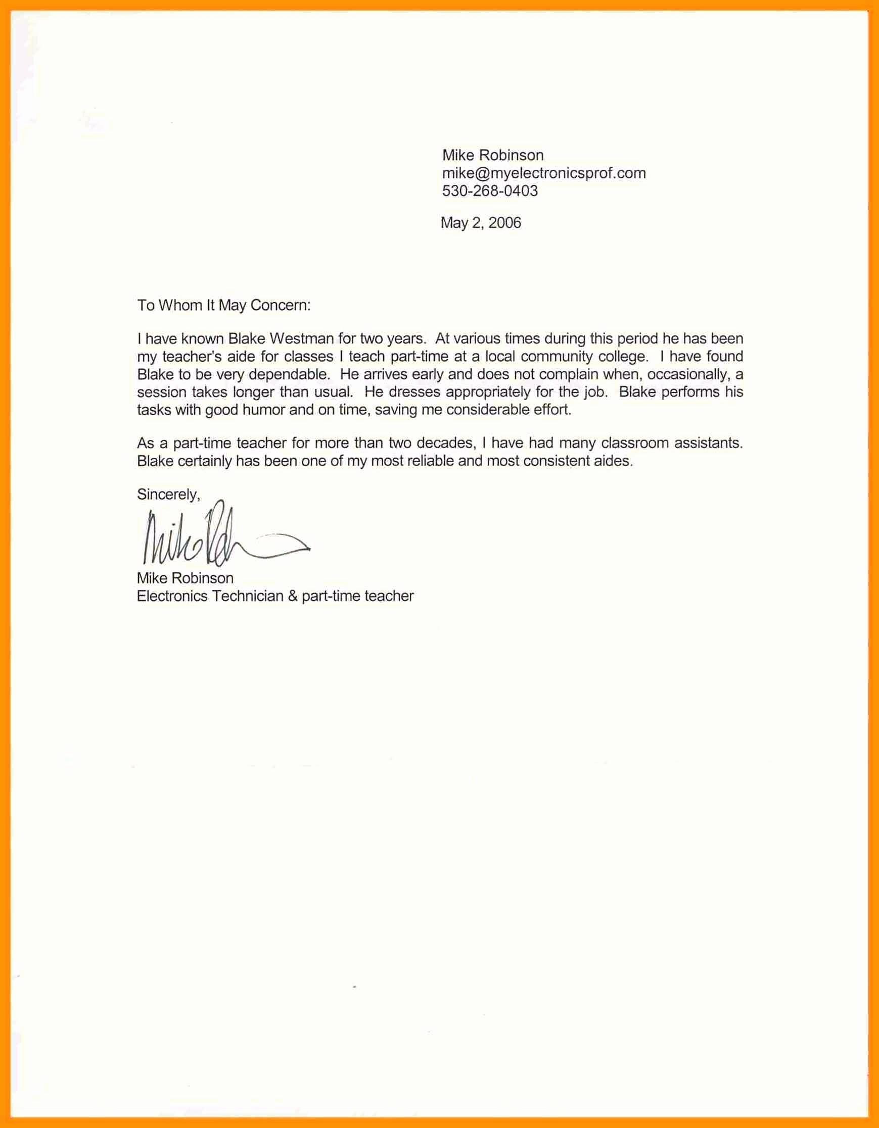 Short Recommendation Letter for Employee Elegant Template Short Letter Re Mendation Template