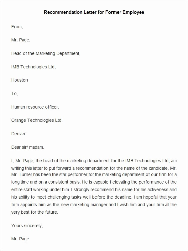 Short Recommendation Letter for Employee Lovely Short Letters Re Mendation Letter Template