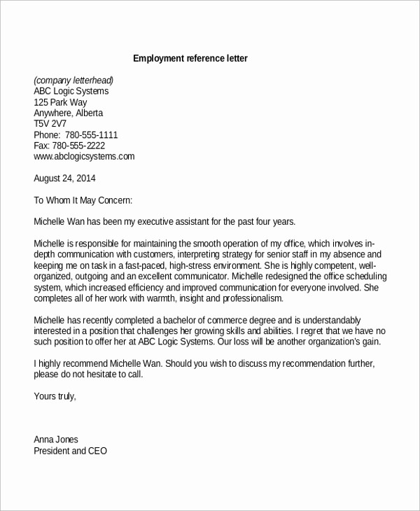 Short Recommendation Letter for Employee New 8 Sample Reference Letter formats