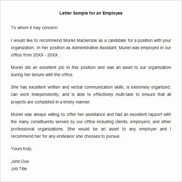 Short Recommendation Letter for Employee Unique 18 Employee Re Mendation Letters Pdf Doc