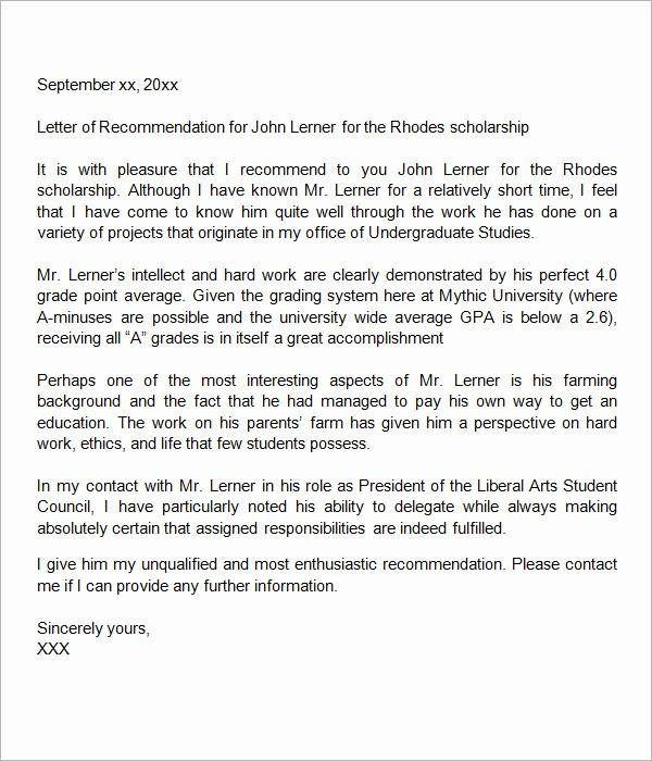 Short Recommendation Letter for Employee Unique Sample Letter Of Re Mendation for Scholarship 10 Free