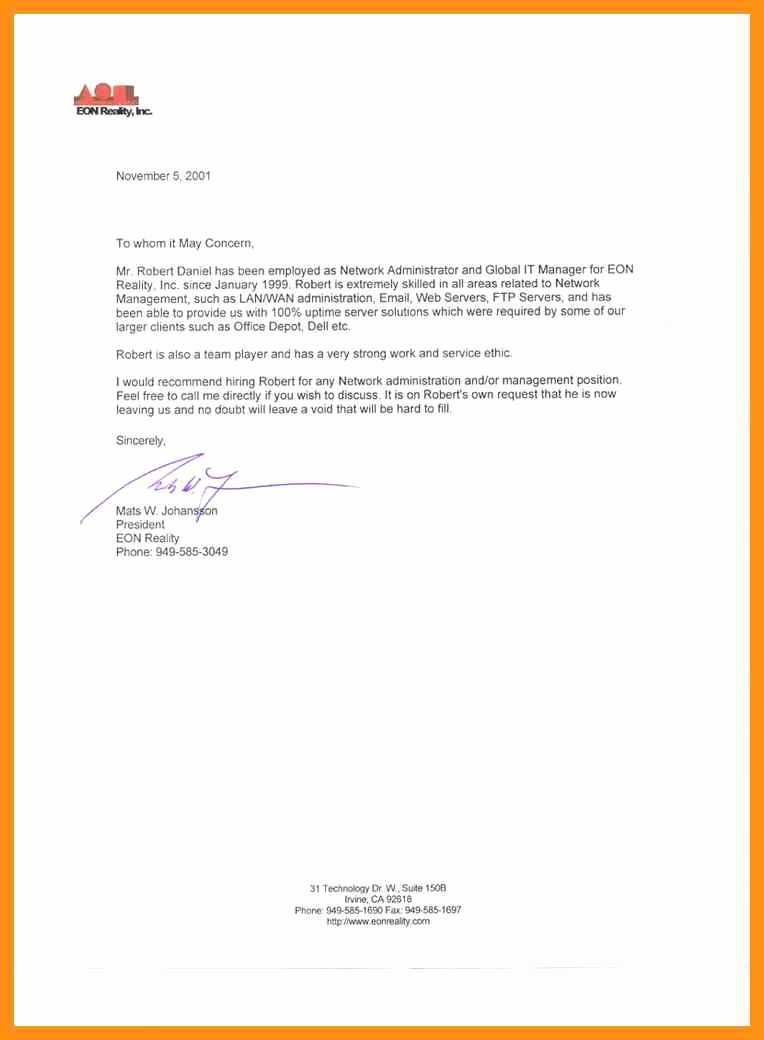 Short Recommendation Letter for Employee Unique Short Letter Of Re Mendation