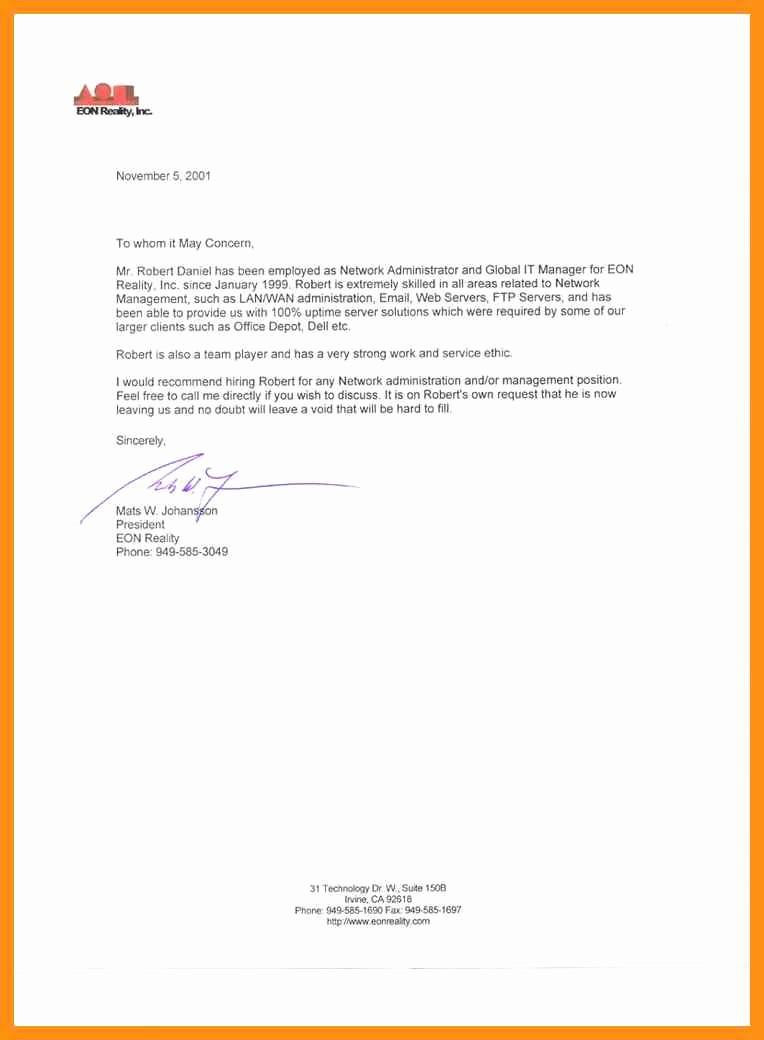 Short Recommendation Letter for Employee Unique Short Letter Of Re Mendation