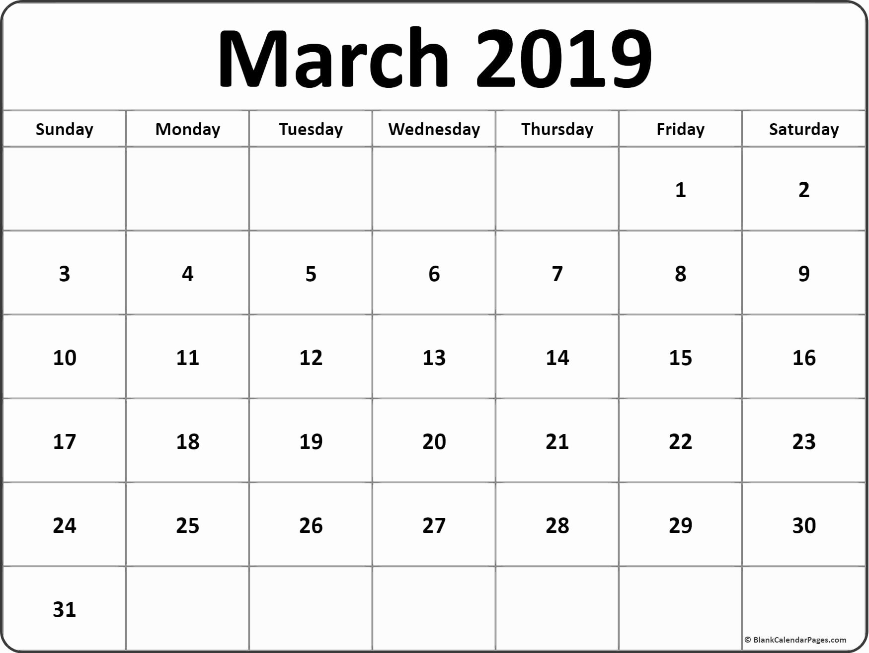 Show Me A Monthly Calendar Awesome March 2019 Blank Calendar Templates