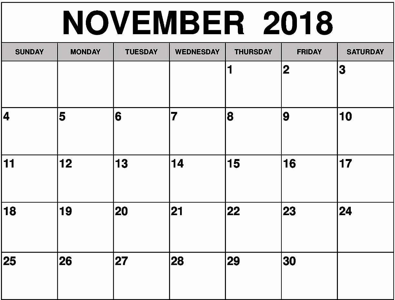 Show Me A Monthly Calendar Beautiful November 2018 Calendar Blank