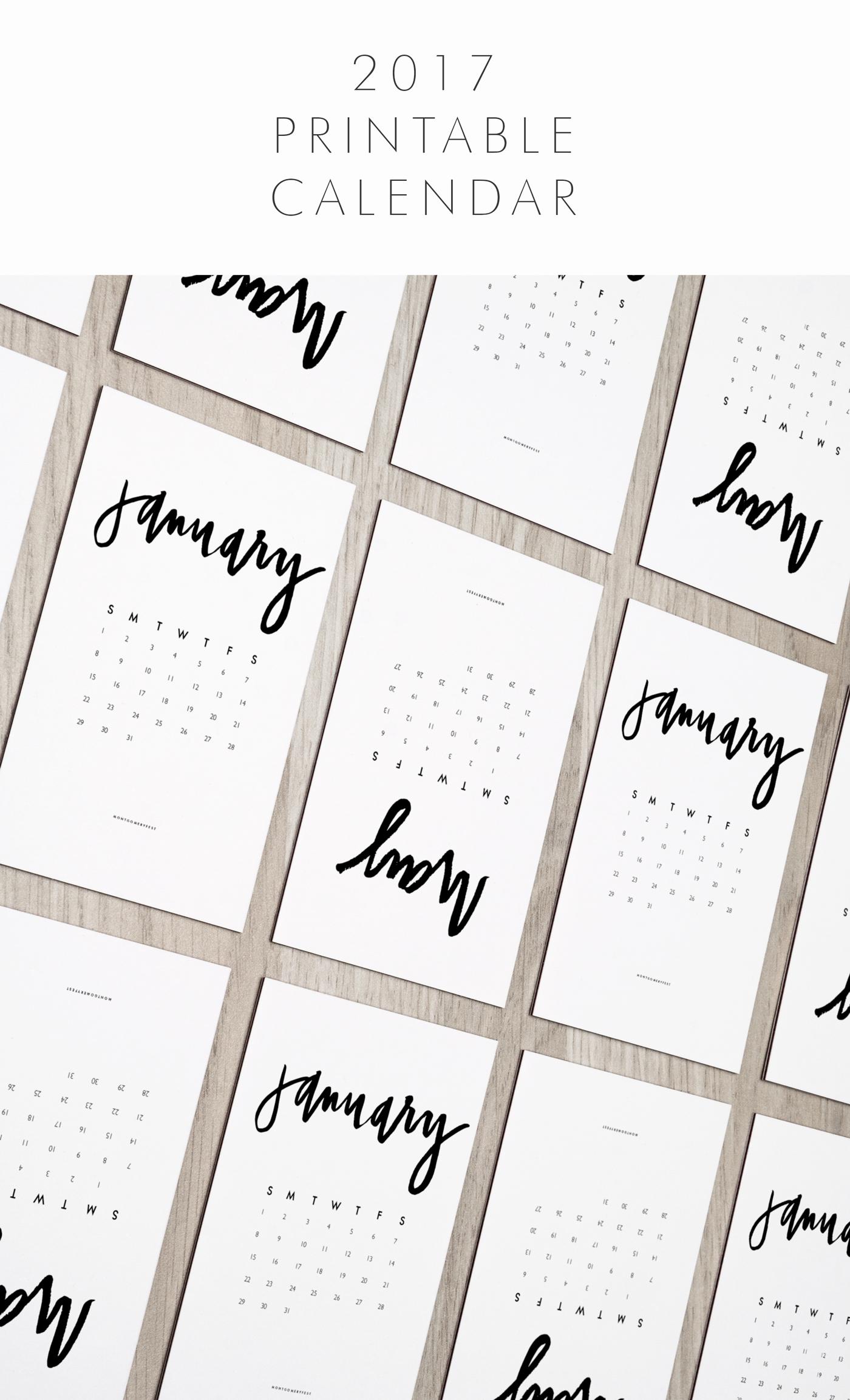 Show Me A Monthly Calendar Fresh 2017 Hand Lettered Calendar Printable Montgomeryfest