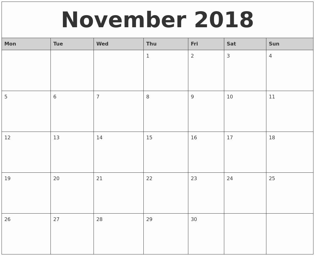 Show Me A Monthly Calendar Fresh November 2018 Monthly Calendar Printable