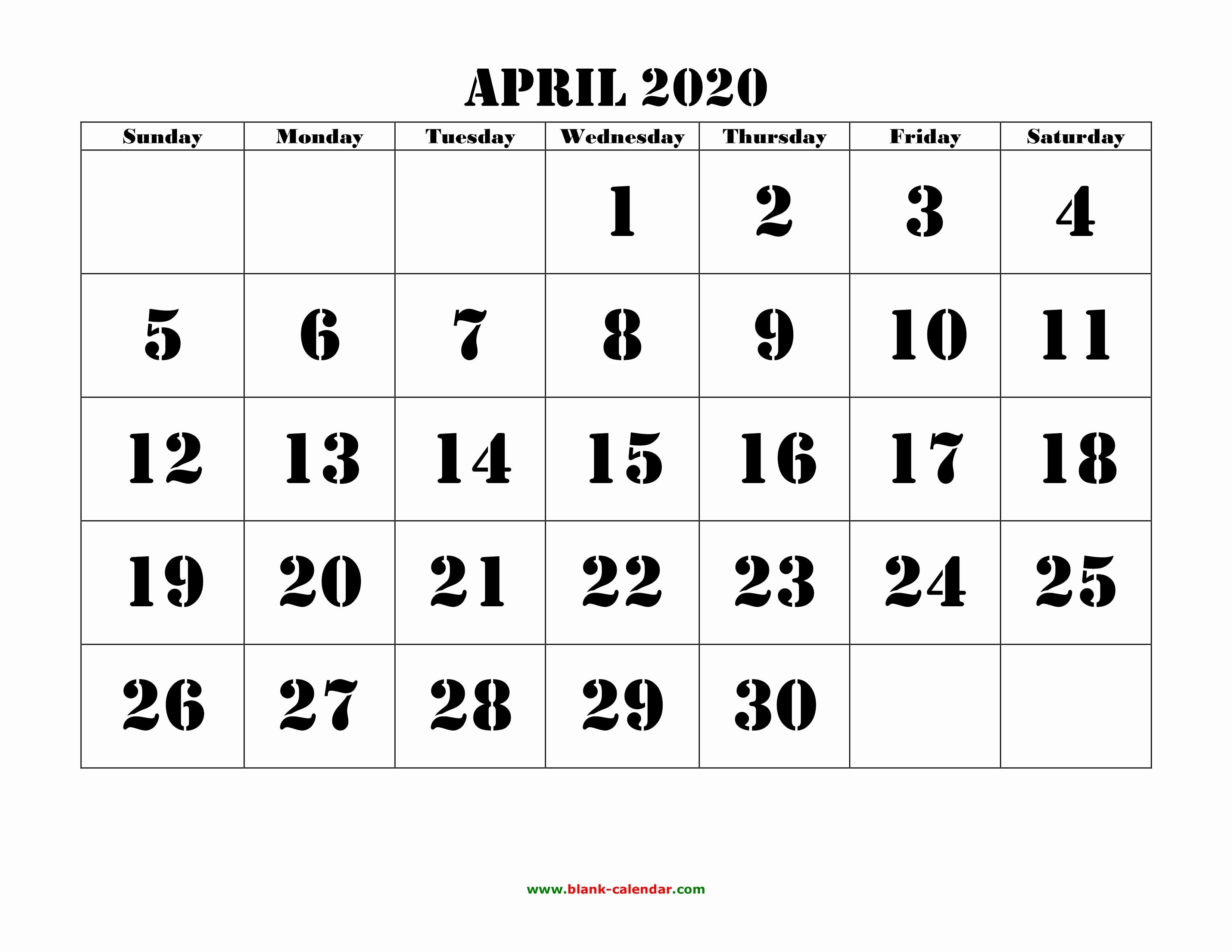 Show Me A Monthly Calendar Luxury April 2020 Printable Calendar